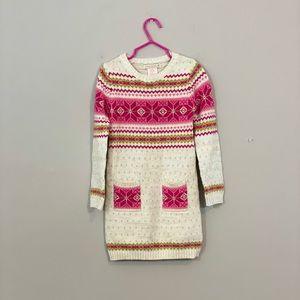 Fair Isle Pink and Cream Tunic Dress